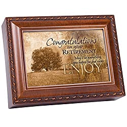 Congrats On Your Retirement Woodgrain & Rope Trim Jewelry Music Box